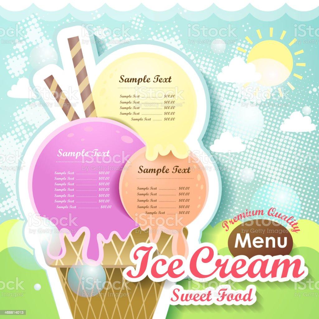 ice cream menu cover vector art illustration
