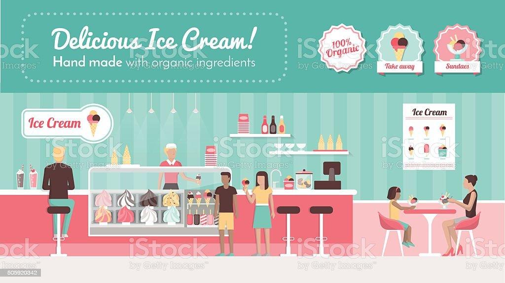 Ice cream parlor vector art illustration