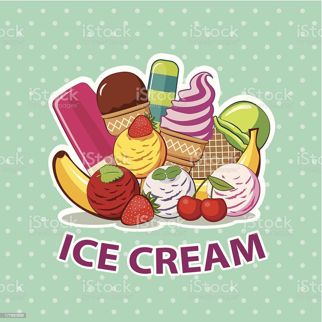 ice cream set vector art illustration