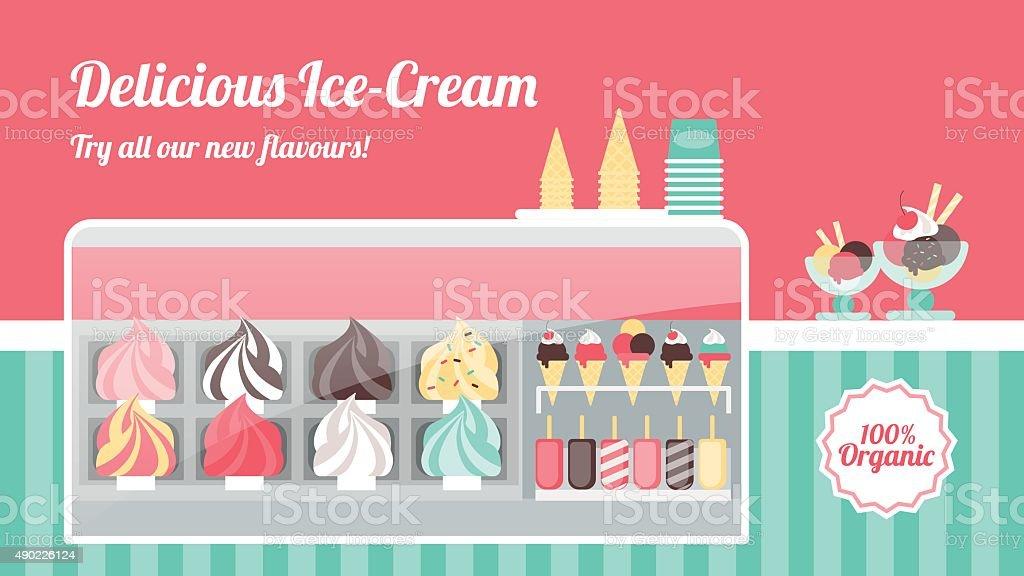 Ice cream shop banner vector art illustration