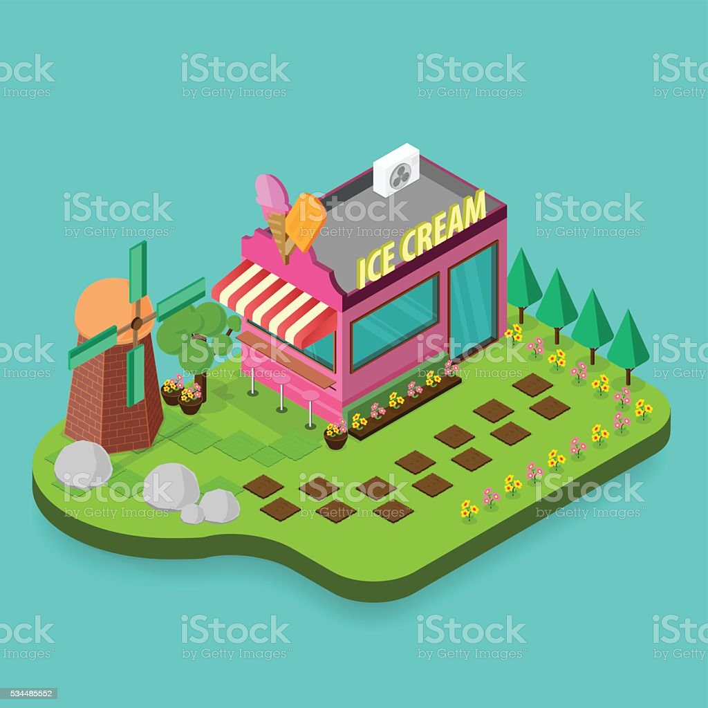 Ice cream shop  building Isometric vector art illustration