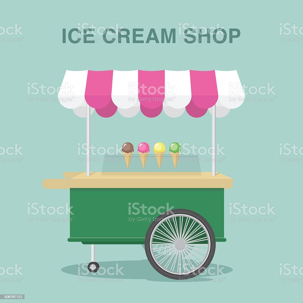 Ice cream shop on moving van. vector art illustration