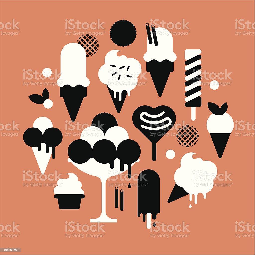 Ice Cream Silhouettes vector art illustration