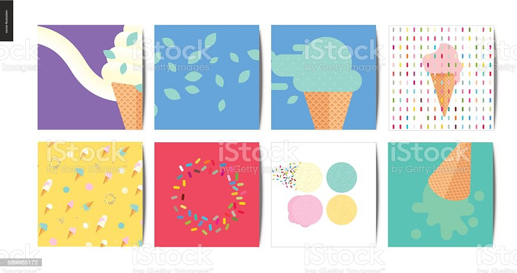 Ice cream square postcards vector art illustration
