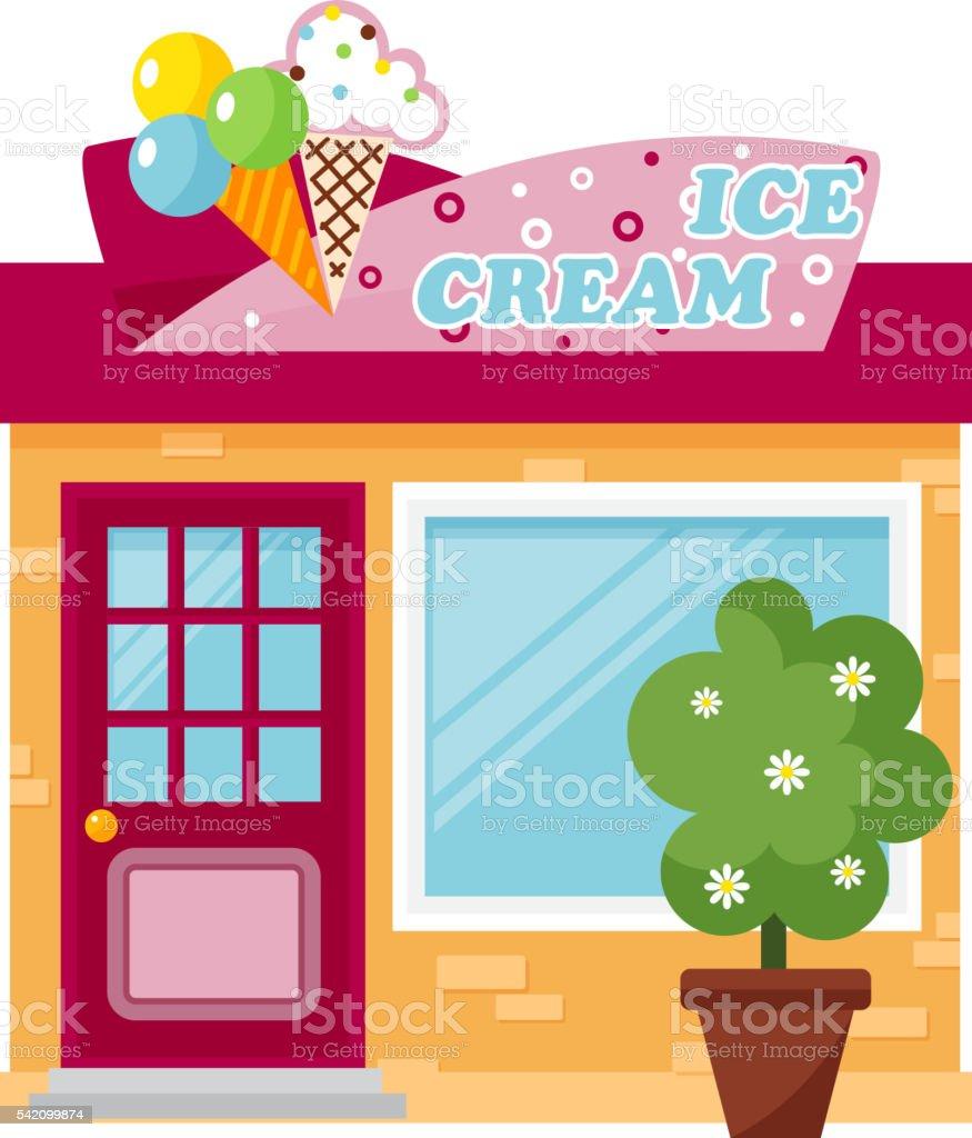 Ice cream store vector illustration. vector art illustration