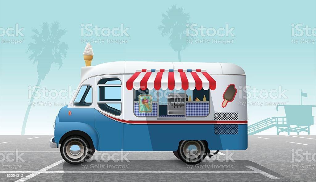 Ice cream truck vector art illustration