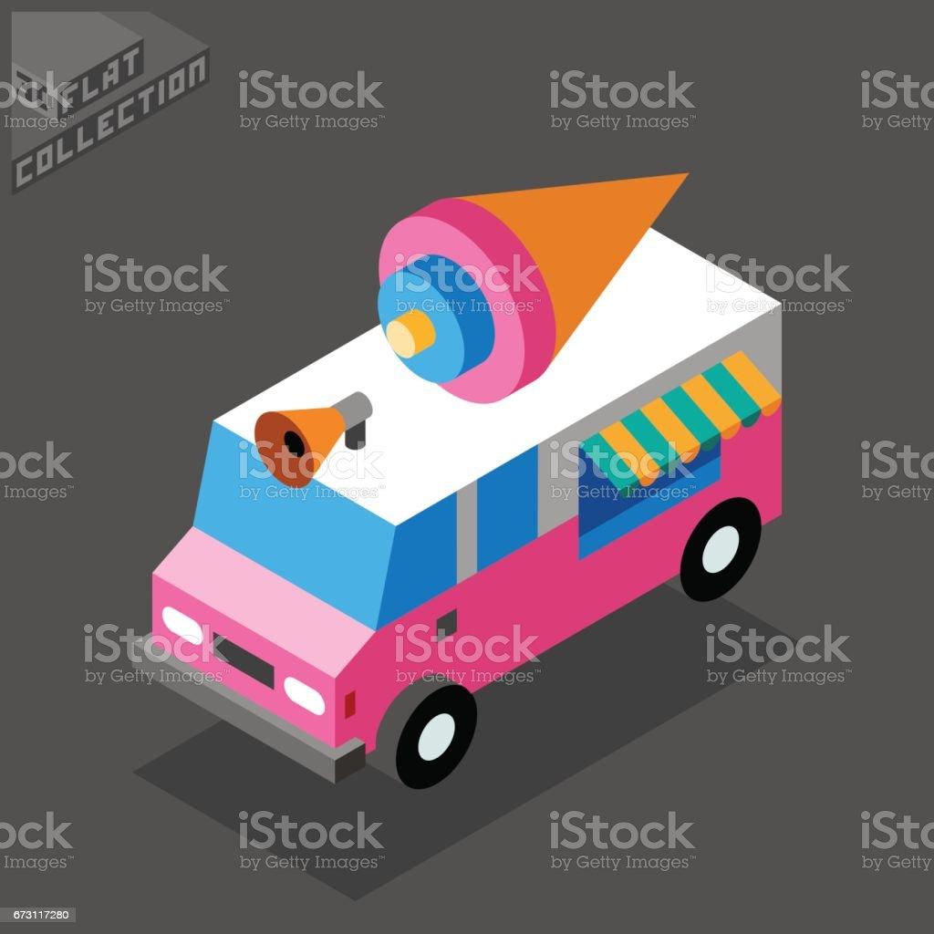 Ice Cream Van Icon. 3D Isometric Low Poly Flat Design. vector art illustration