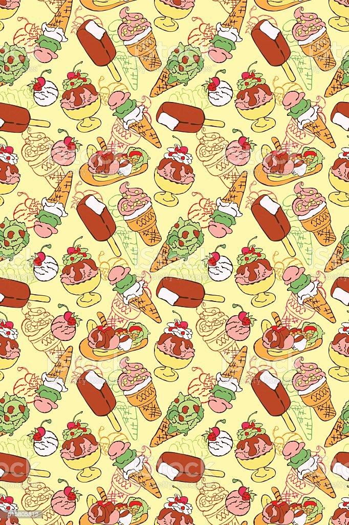 Ice cream. Vector seamless pattern (background). vector art illustration