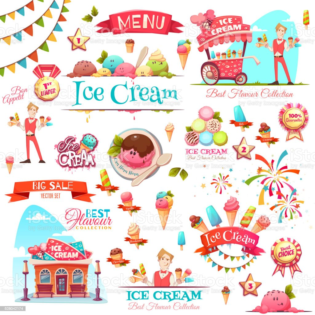 Ice cream vector set with banner icons and illustrations vector art illustration