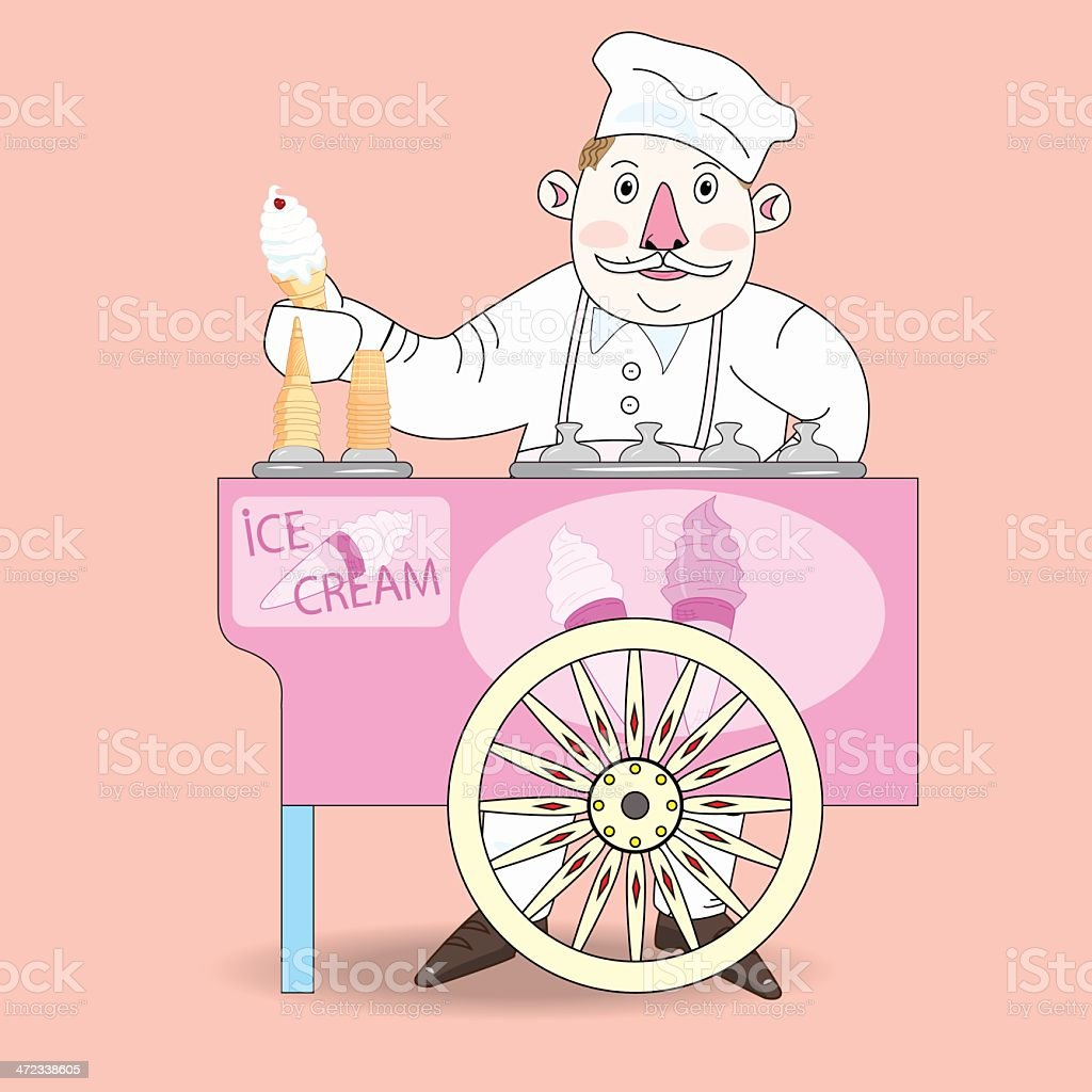 Ice cream vendor with cart. royalty-free stock vector art