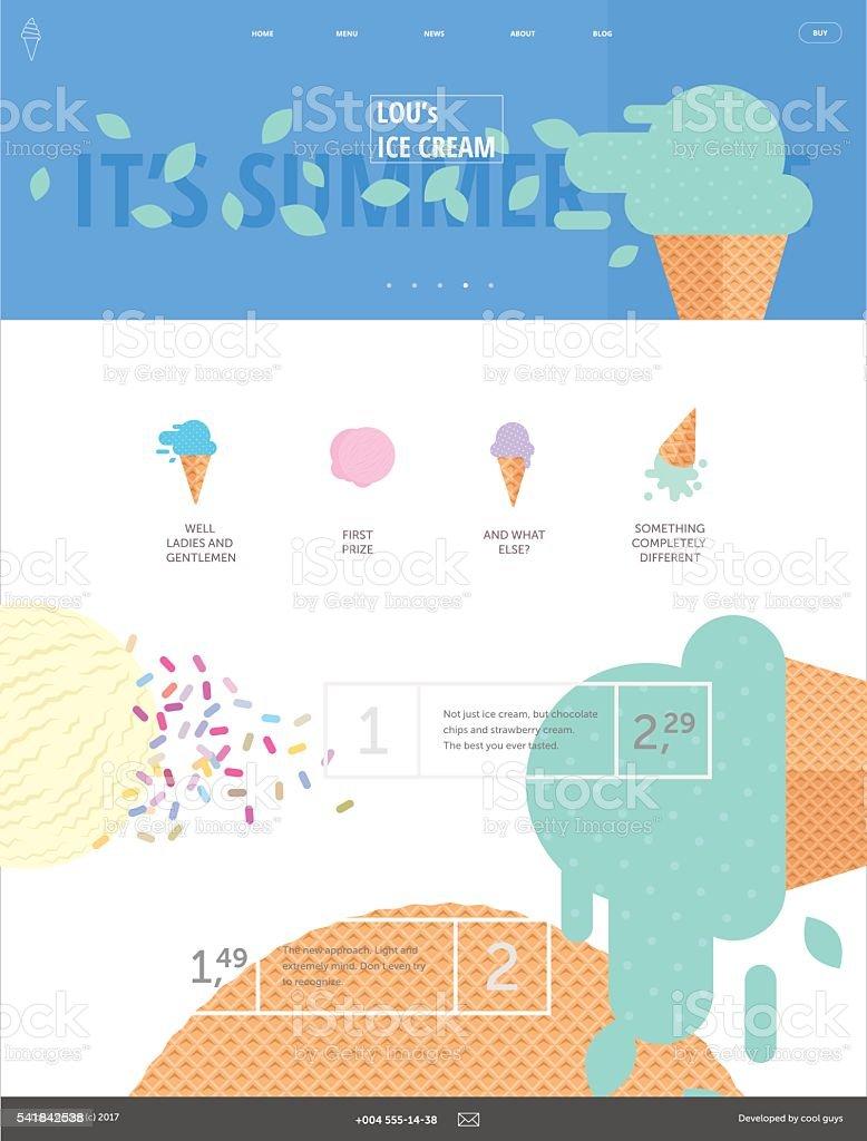 Ice cream website pink template vector art illustration