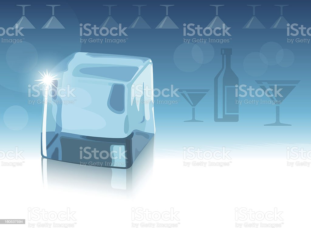 Ice cube and blue background royalty-free stock vector art