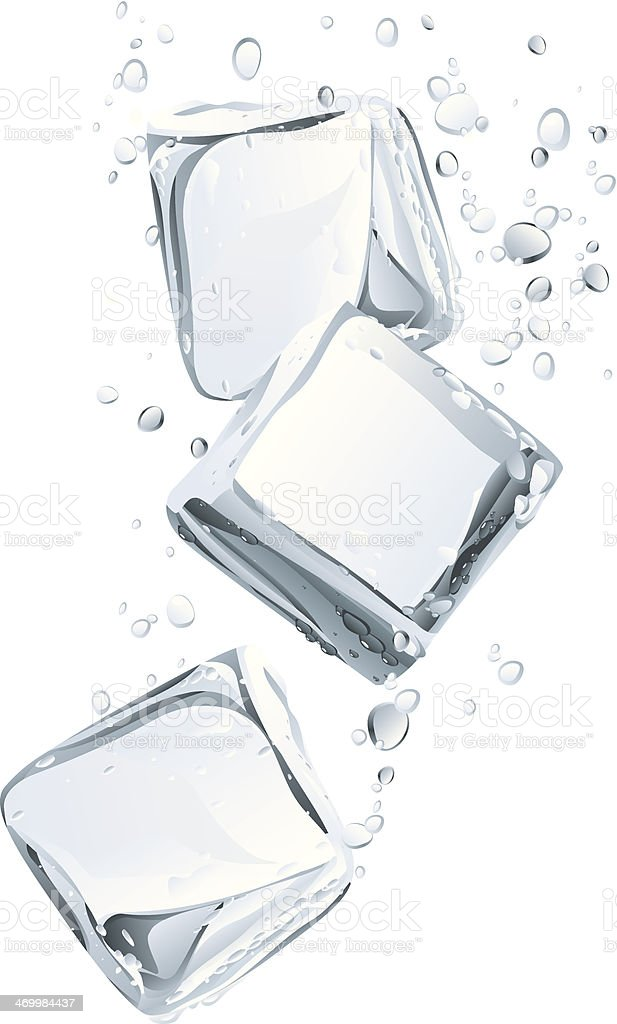 Ice Cubes and Water Bubbly vector art illustration