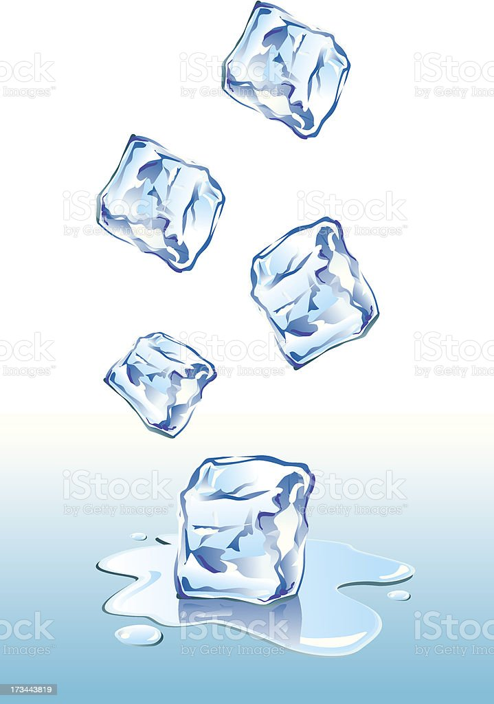 Ice Cubes Falling royalty-free stock vector art