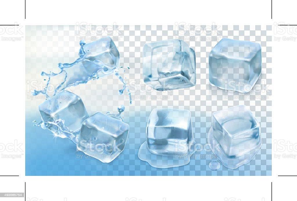 Ice cubes vector art illustration