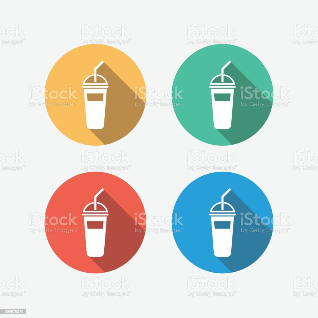 Ice Drink Multi Colored Circle Flat Icon vector art illustration