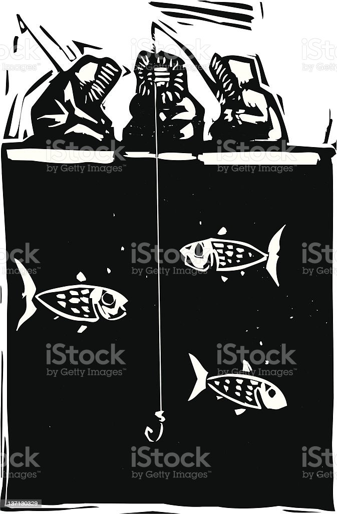 Ice Fishing Inuit vector art illustration