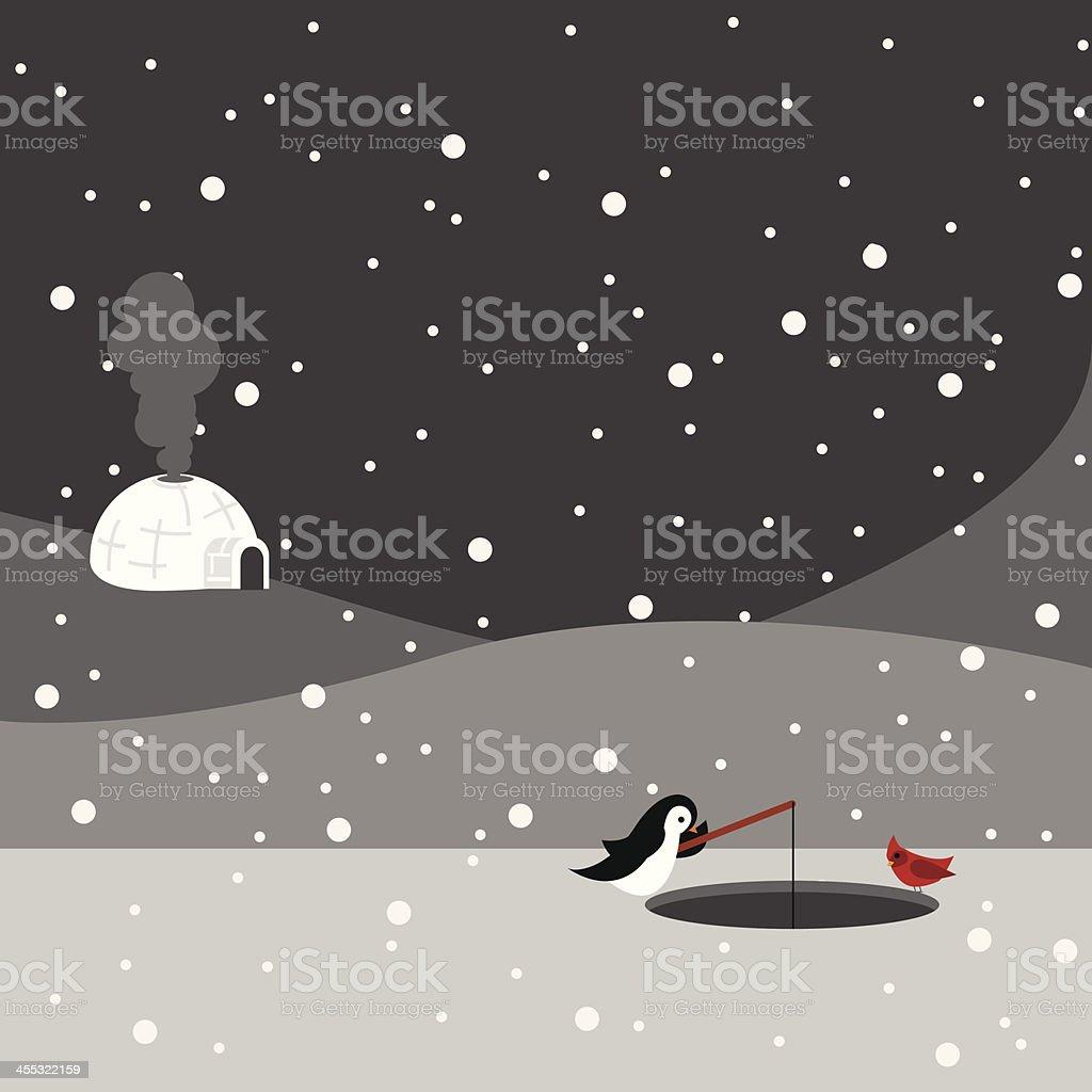 Ice Fishing vector art illustration