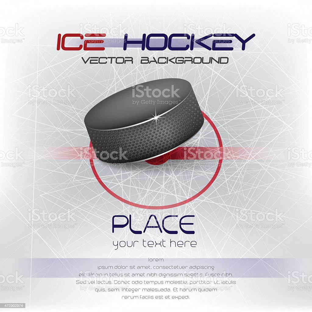 Ice hockey background with puck vector art illustration