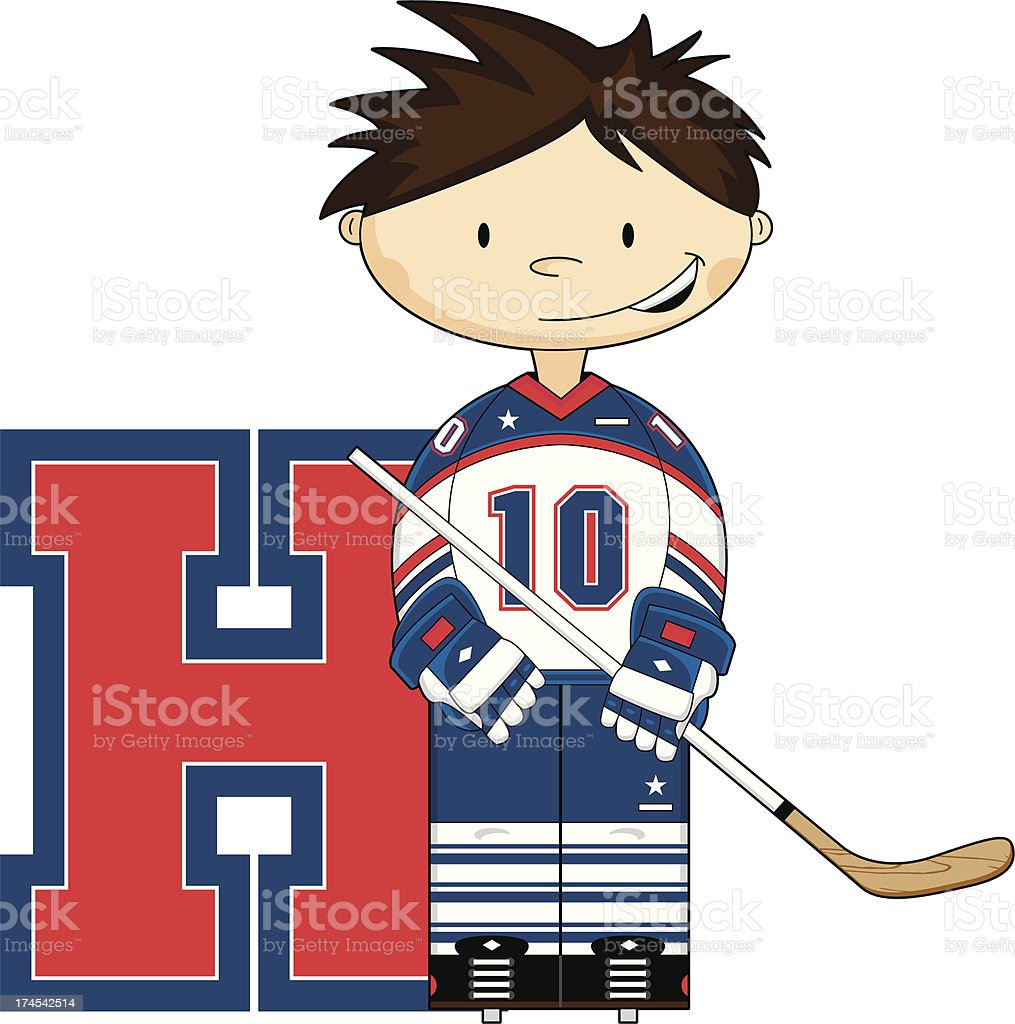 Ice Hockey Boy Learning Letter H royalty-free stock vector art