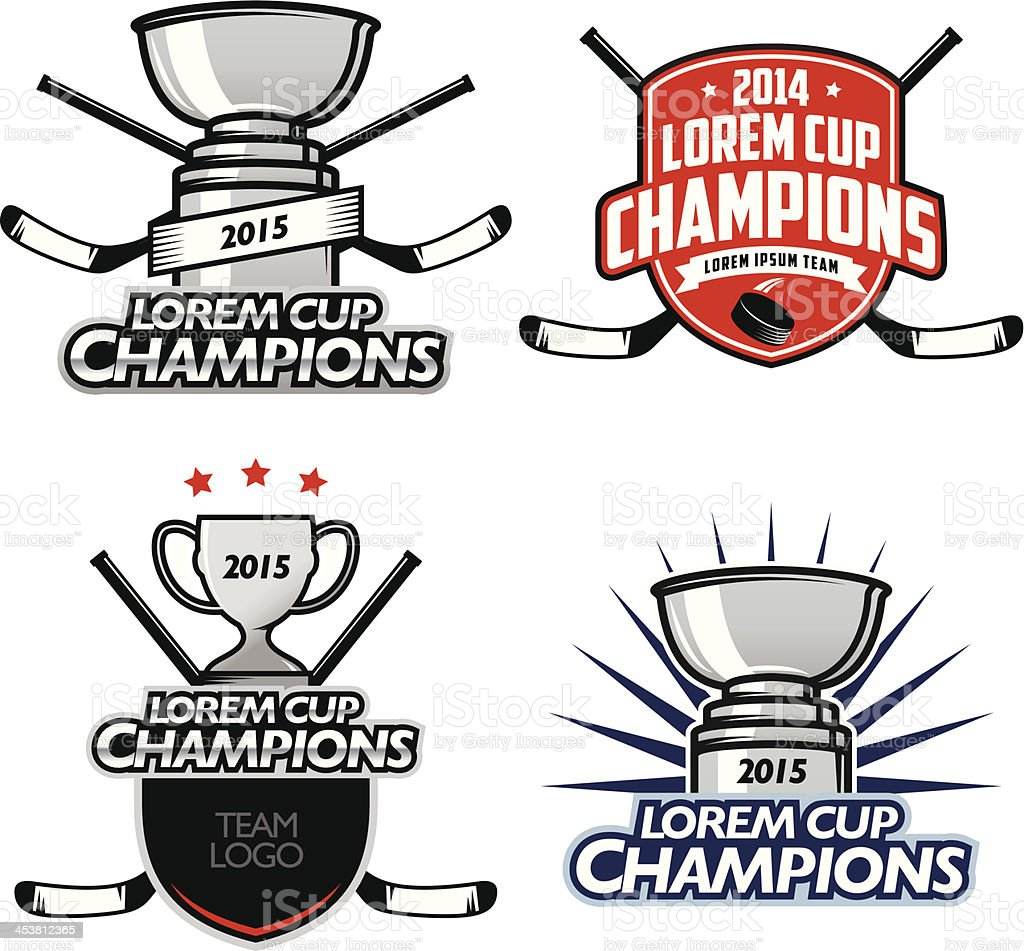Ice hockey cup champions labels, badges and design elements vector art illustration