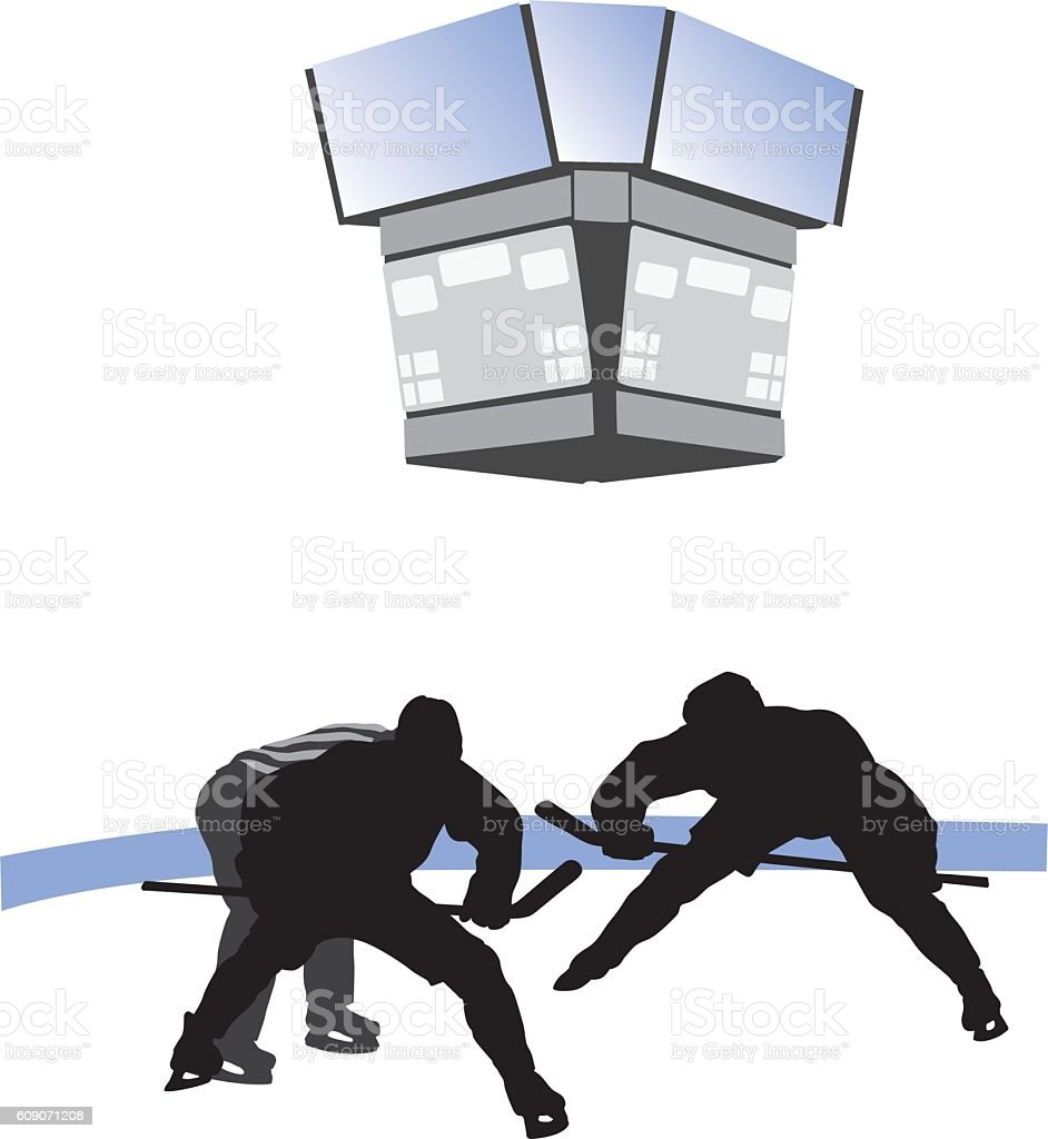 Ice Hockey Face Off Vector Silhouette vector art illustration