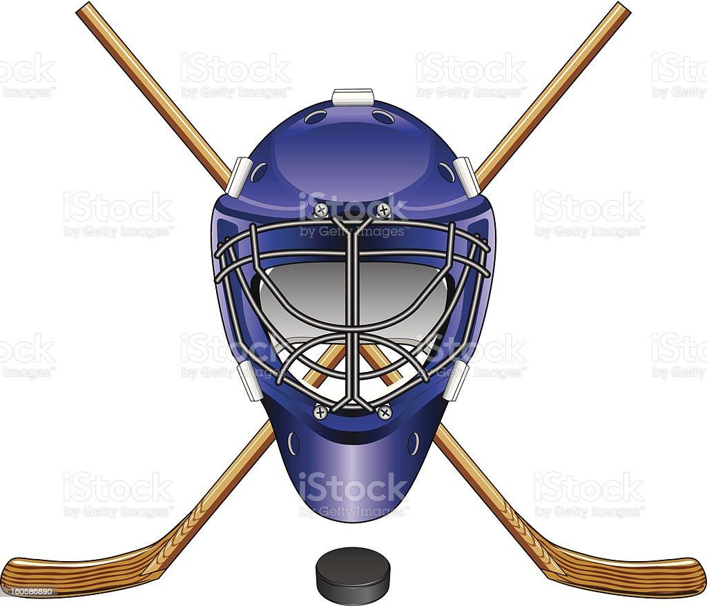 Ice Hockey Goalie Mask Sticks and Puck royalty-free stock vector art
