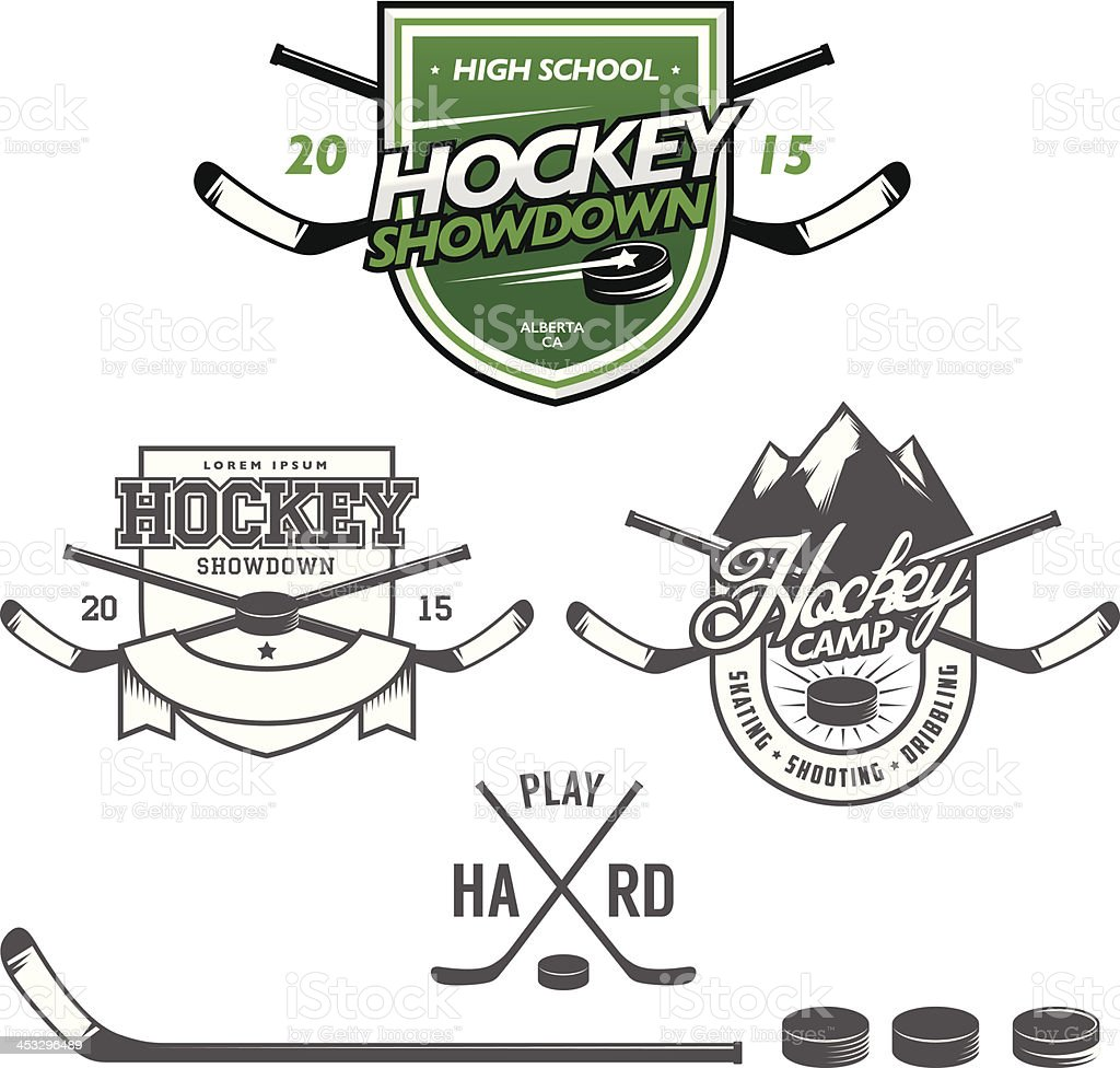 Ice hockey labels, badges and design elements vector art illustration