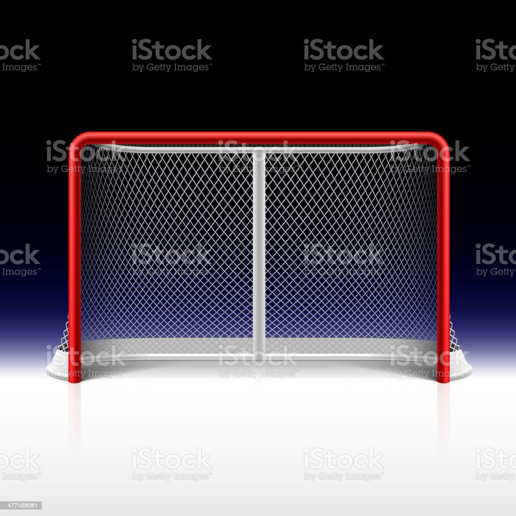 Ice hockey net, goal on black vector art illustration