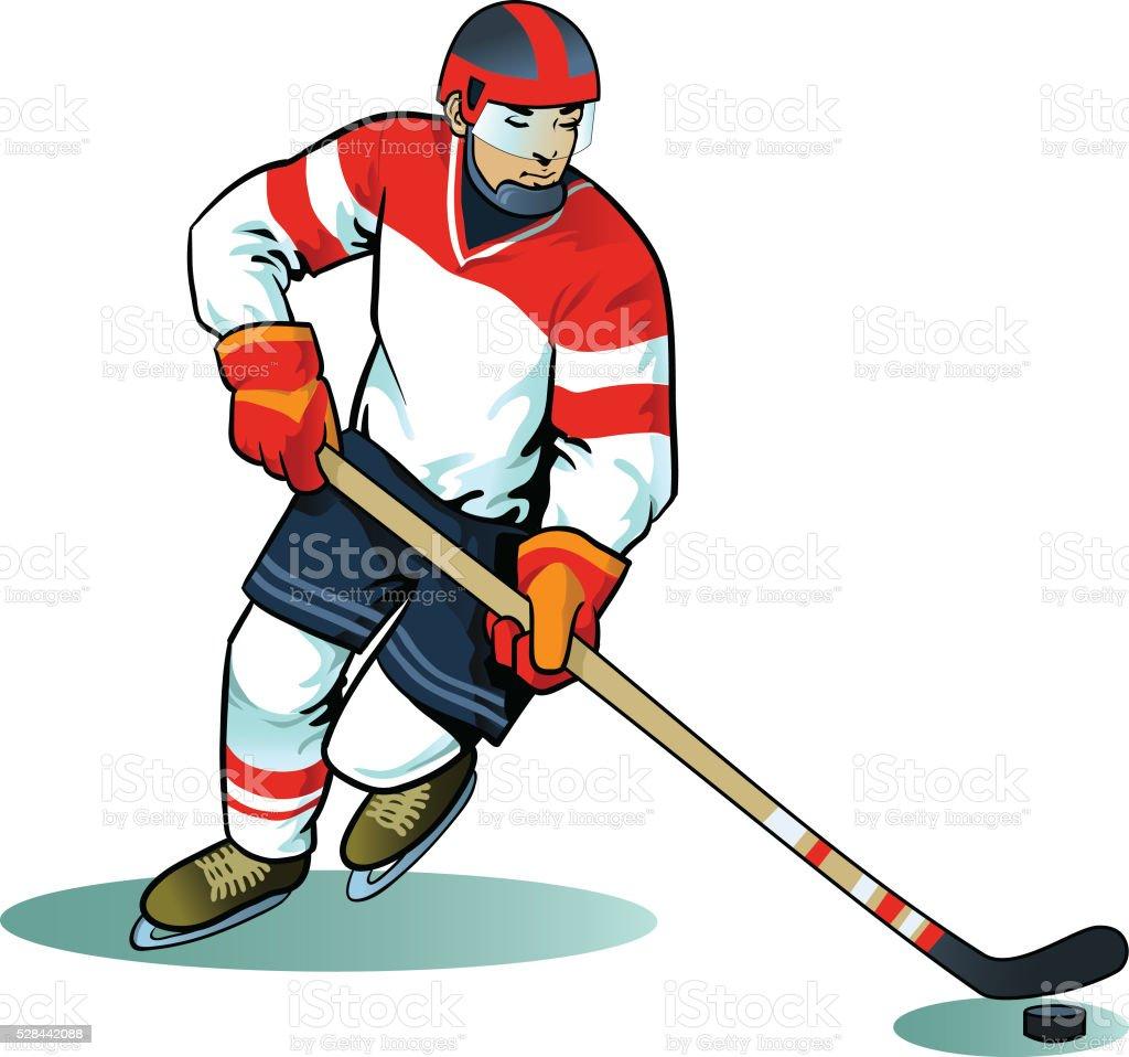 Ice Hockey Player Attacking vector art illustration