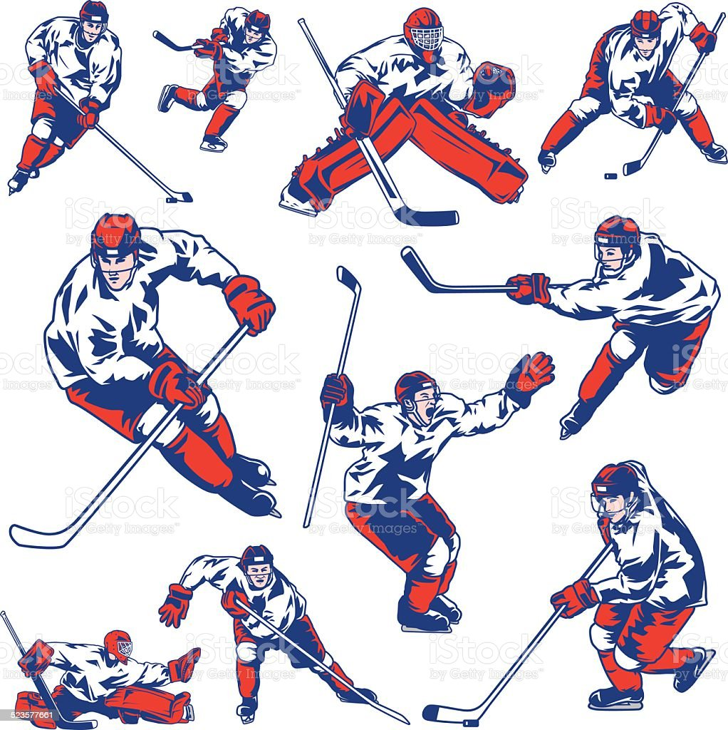 Ice Hockey Player Set vector art illustration