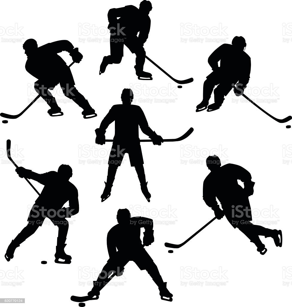 Ice Hockey Seven Silhouettes Set vector art illustration