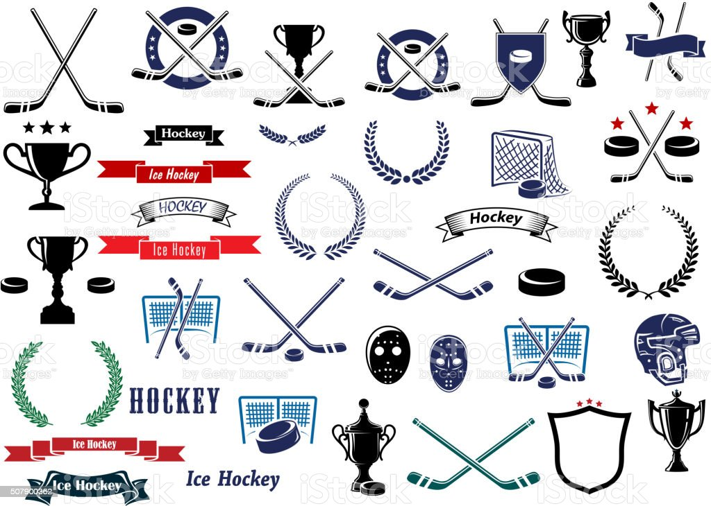 Ice hockey sport game icons and elements vector art illustration