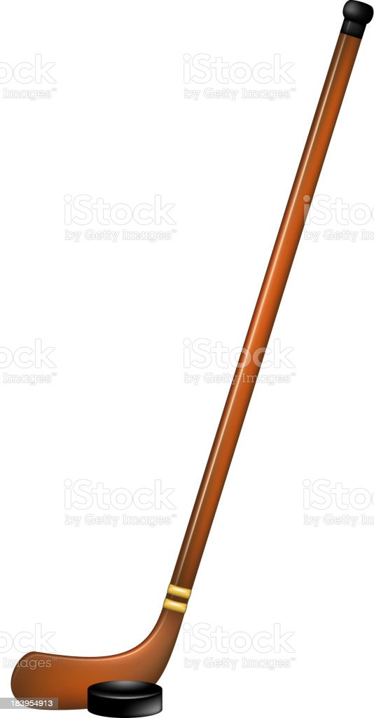 Ice hockey stick and puck royalty-free stock vector art