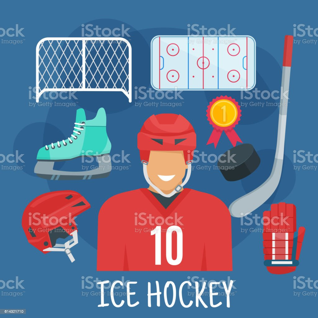 Ice hockey player in red uniform jersey and protective helmet flat...