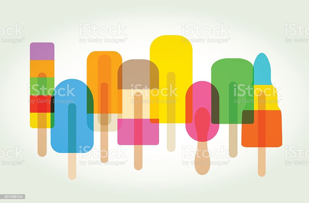 Ice lollies or Popsicles vector art illustration