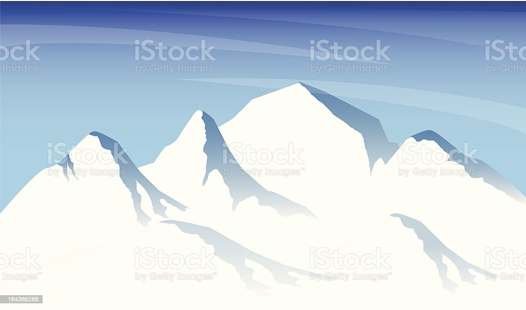 Ice Mountain Range vector art illustration