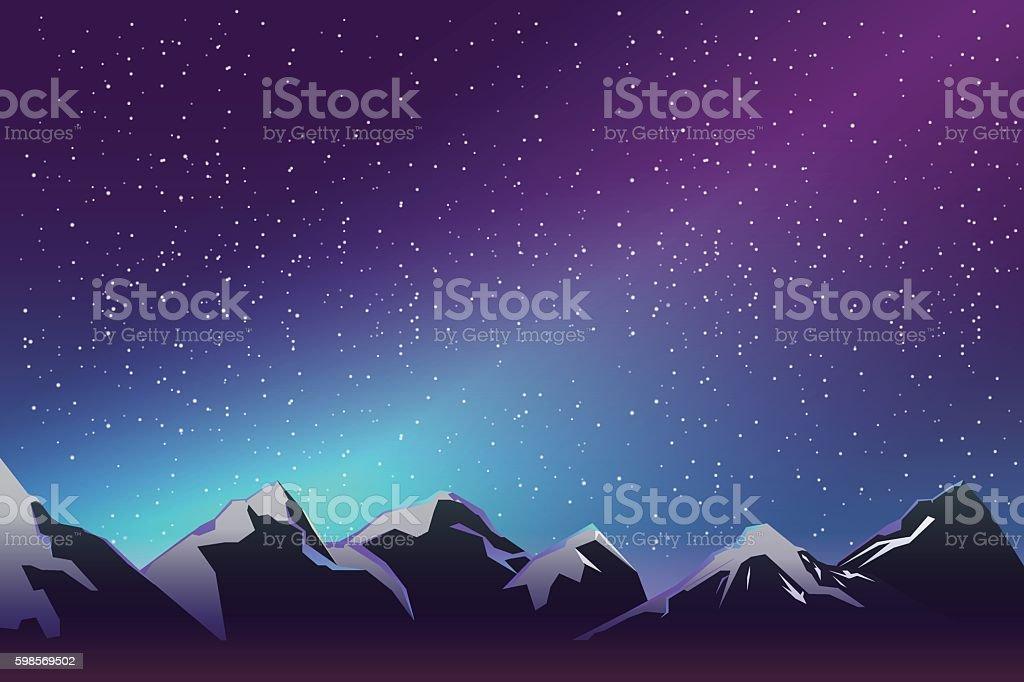 ice mountain when night vector art illustration