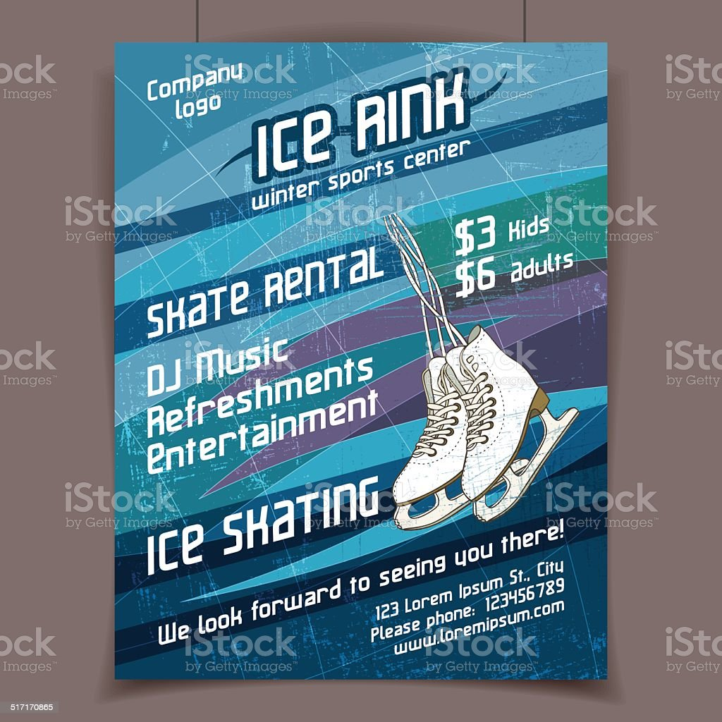 Ice rink advertising poster vector art illustration