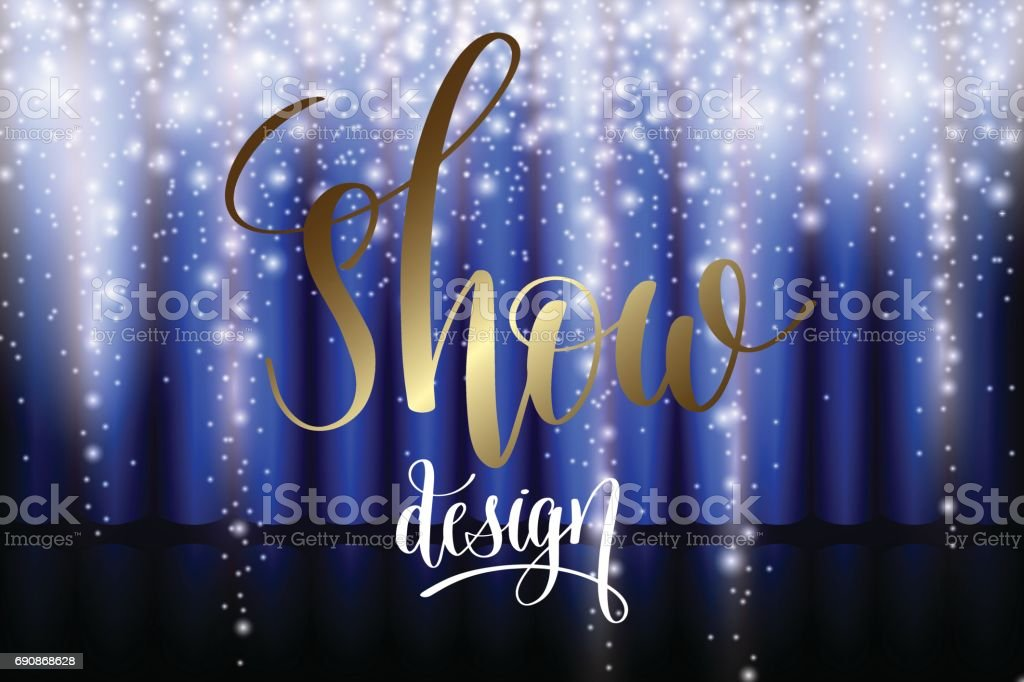 ice show design with blue curtain vector art illustration