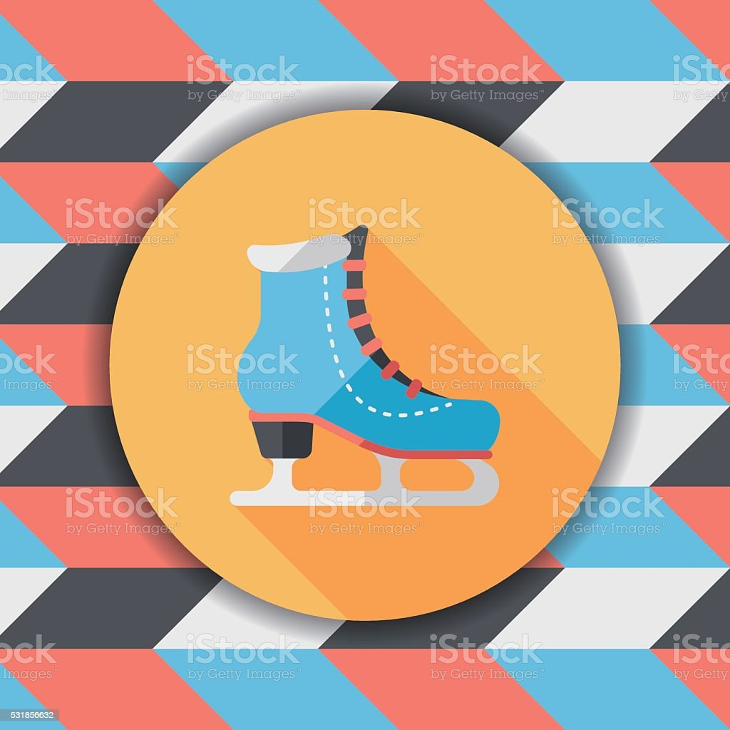 ice skate flat icon with long shadow,eps10 vector art illustration