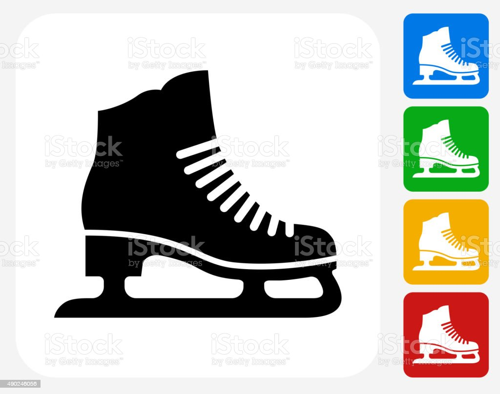Ice Skates Icon Flat Graphic Design vector art illustration