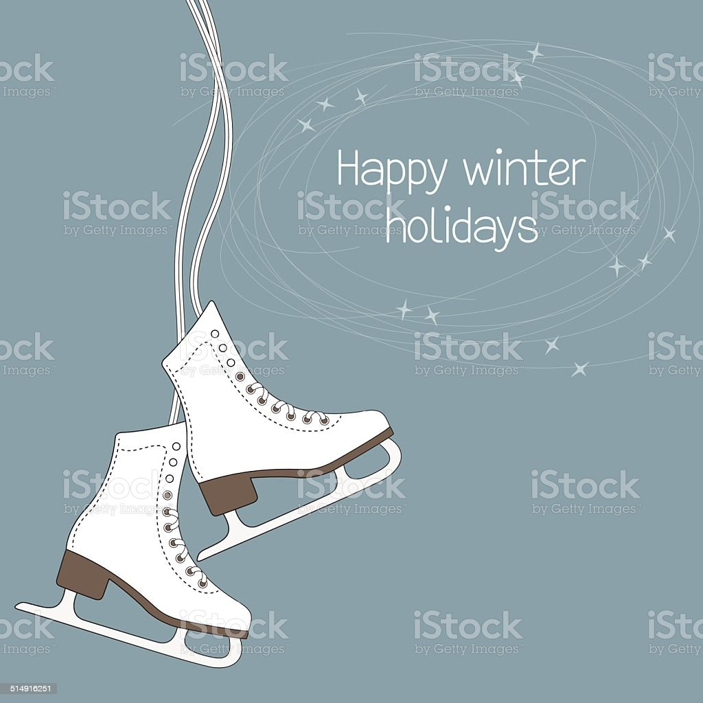 Ice skates vector art illustration