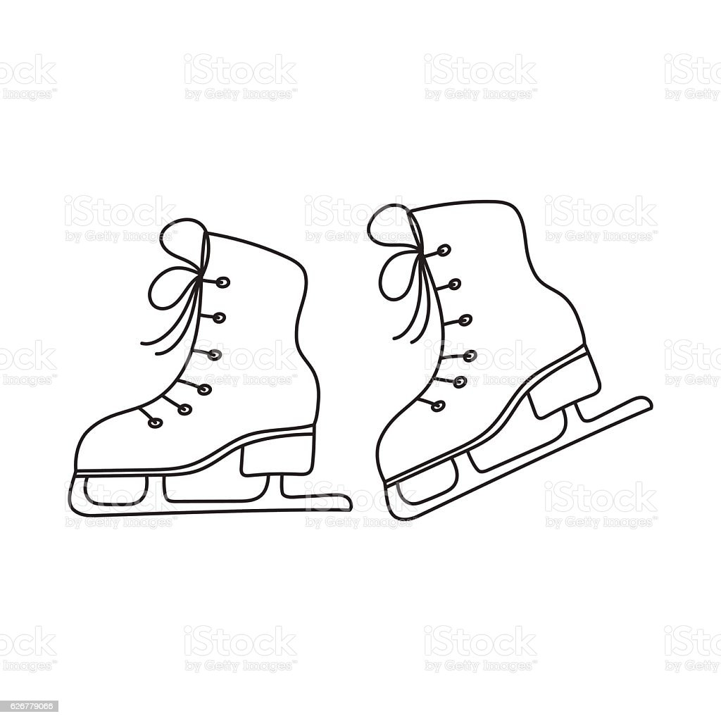 Ice skates vector line illustration isolated. vector art illustration