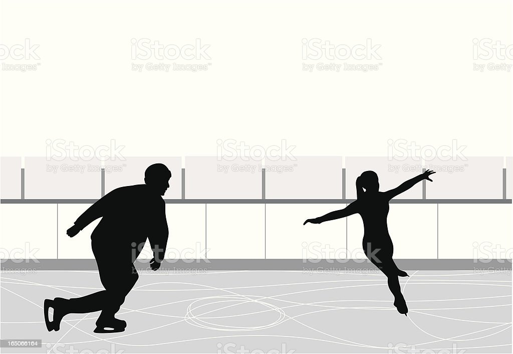 Ice Skating Couple Vector Silhouette royalty-free stock vector art