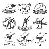 Ice Skating label logo set