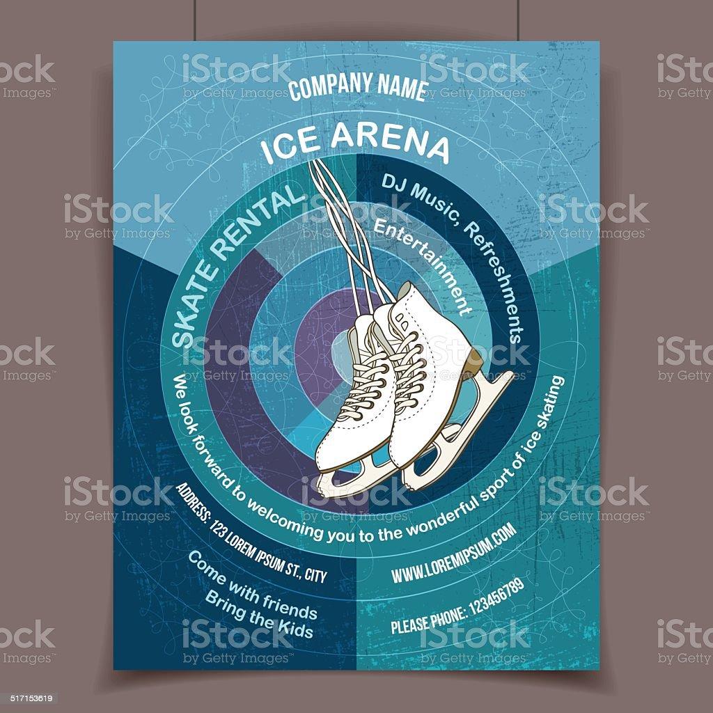 Ice skating rink advertising poster vector art illustration