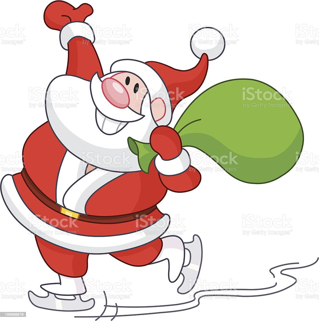 Ice skating Santa royalty-free stock vector art