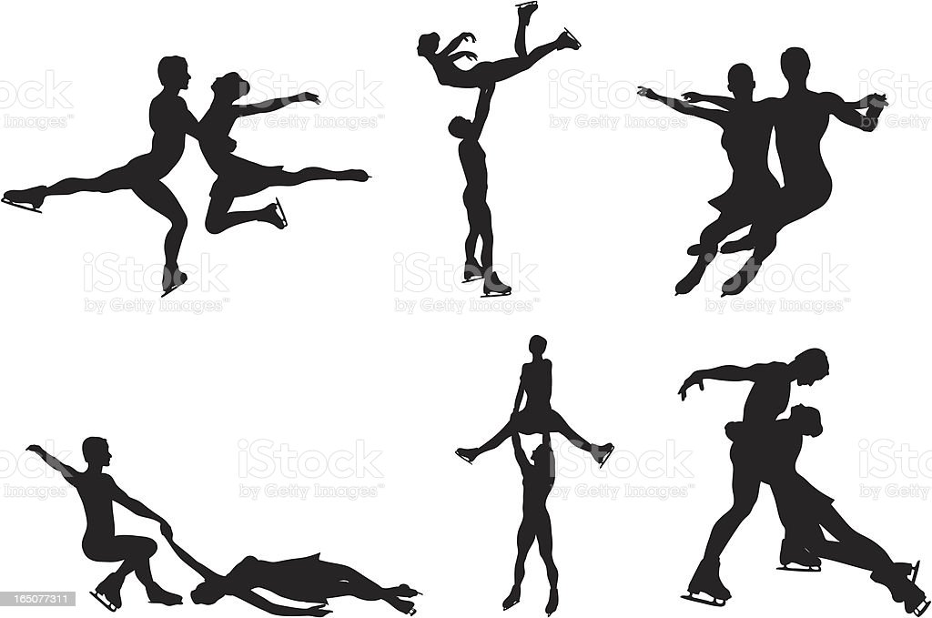 Ice skating silhouette collection royalty-free stock vector art