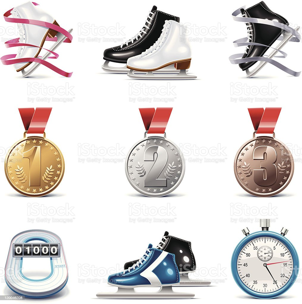 Ice skating sport icon set royalty-free stock vector art